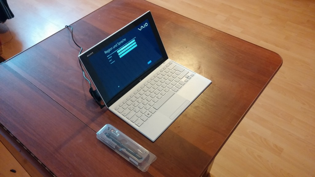 Планшет Sony Vaio Tap 11 128 Gb. Первоначальная настройка на немецком языке
